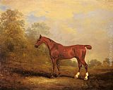 John Ferneley Snr - Cecil, a favorite Hunter of the Earl of Jersey in a Landscape