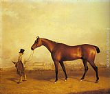 John Ferneley Snr - Emlius, Winter of the 1832 Derby, held by a Groom at Doncaster