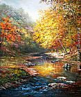 Famous Trees Paintings - Beautiful trees with a quiet river