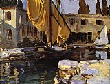 gold Canvas Paintings - Boat with The Golden Sail San Vigilio