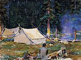 Lake Canvas Paintings - Camping at Lake O'Hara