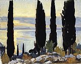 Trees Canvas Paintings - Cypress Trees at San Vigilio