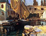 gold Canvas Paintings - San Vigilio A Boat with Golden Sail
