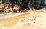 beach Canvas Paintings - Sand Beach Schooner Head Maine