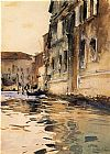 Canal Canvas Paintings - Venetian Canal Palazzo Corner