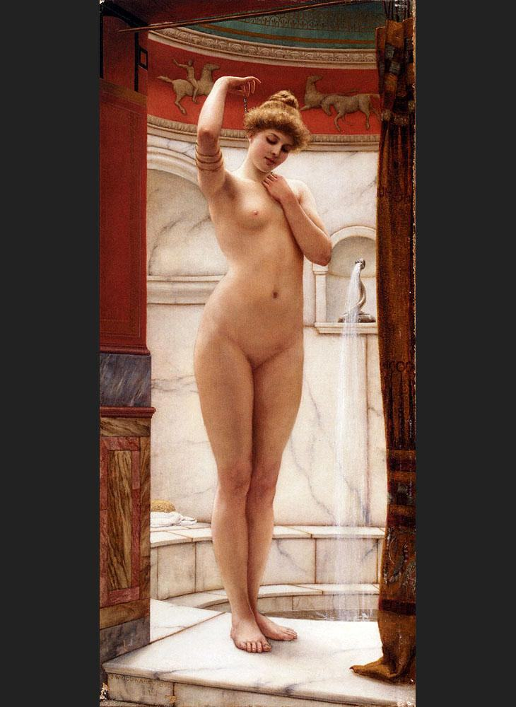John William Godward A Pompeian Bath