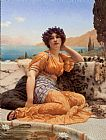 John William Godward With Violets Wreathed and Robe of Saffron Hue painting