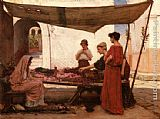 Market Canvas Paintings - A Grecian Flower Market