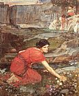 Study Canvas Paintings - Maidens picking Flowers by a Stream Study