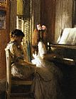 Joseph DeCamp The Music Lesson painting