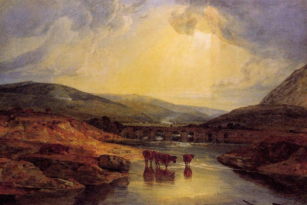Joseph Mallord William Turner Abergavenny Bridge Monmountshire clearing up after a showery day