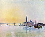 Joseph Mallord William Turner Venice San Guirgio from the Dogana Sunrise painting
