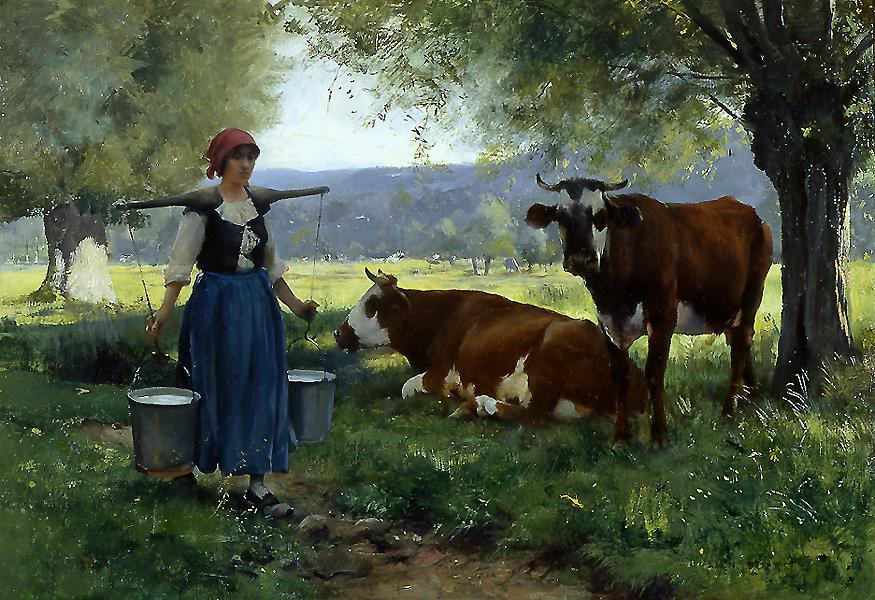 Julien Dupre Milkmaid with Cows 2