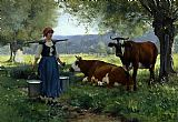 Julien Dupre Milkmaid with Cows 2 painting