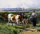 Julien Dupre Milkmaid with Cows painting