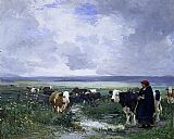 Julien Dupre Tending the Herd painting