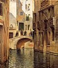 Canal Canvas Paintings - Venetian Canal