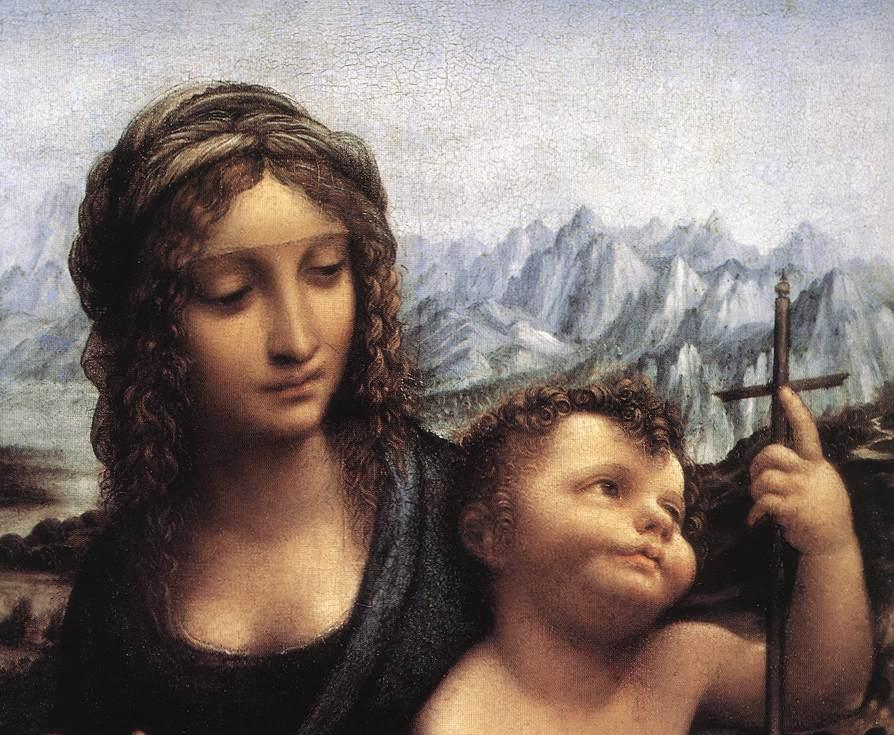 Leonardo da Vinci Madonna with the Yarnwinder detail