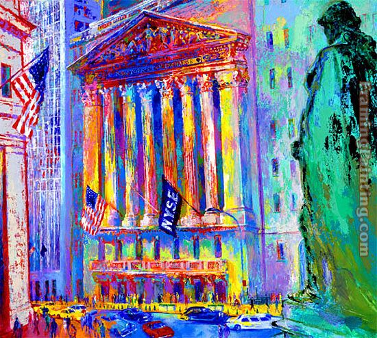 leroy neiman new york stock exchange 2 painting framed paintings for sale. Black Bedroom Furniture Sets. Home Design Ideas