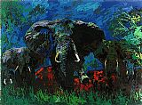 Leroy Neiman Elephant Stampede painting