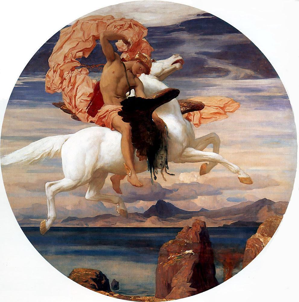 Lord Frederick Leighton Perseus on Pegasus Hastening to the Rescue of Andromeda