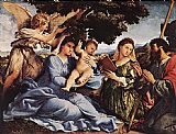 Angel Canvas Paintings - Madonna and Child with Saints and an Angel