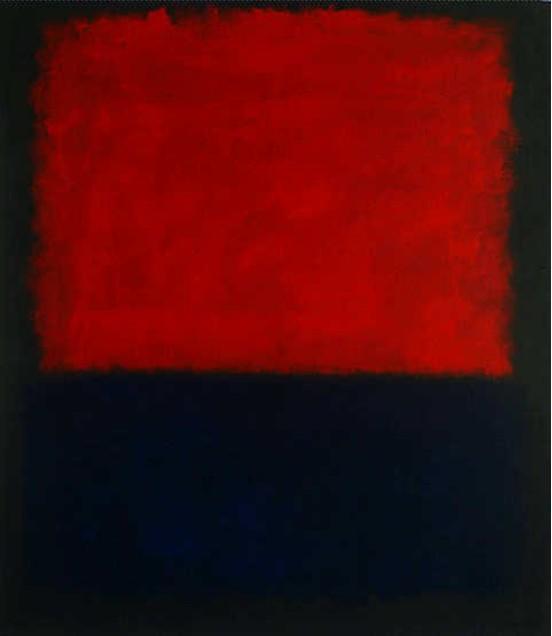 Mark rothko red over dark blue on dark gray painting for Dark red paintings