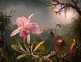 Famous Orchid Paintings - Cattleya Orchid and Three Brazilian Hummingbirds