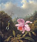 Famous Orchid Paintings - Fighting Hummingbirds with Pink Orchid