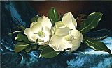 Magnolias on a Blue Velvet Cloth