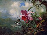 Lake Canvas Paintings - Orchid and Hummingbirds near a Mountain Lake