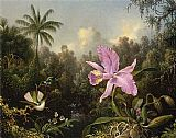 Famous Orchid Paintings - Orchid and Two Hummingbirds