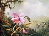 Lake Canvas Paintings - Orchids and Hummingbirds near a Mountain Lake