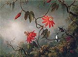pas Canvas Paintings - Passion Flowers and Hummingbirds
