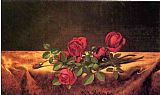 gold Canvas Paintings - Roses Lying on Gold Velvet