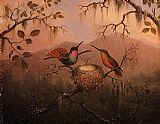Martin Johnson Heade Wall Art - Two Hummingbirds at a Nest