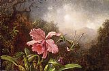 Martin Johnson Heade Wall Art - Two Hummingbirds by an Orchid