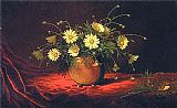 Yellow Canvas Paintings - Yellow Daisies in a Bowl