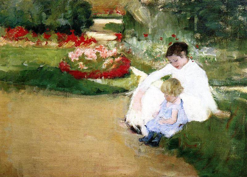 Mary Cassatt Woman And Child Seated In A Garden