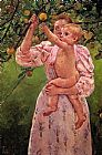 Baby Reaching For An Apple Aka Child Picking Fruit