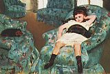blue Canvas Paintings - Little Girl in a Blue Armchair 1878