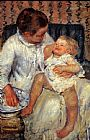 Mary Cassatt Mother about to Wash her Sleepy Child 1880 painting