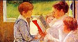 Reading Canvas Paintings - Mrs Cassatt Reading to her Grandchildren, 1888