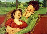 Mary Cassatt Reine Lefebre And Margot Before A Window painting
