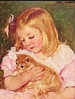 Famous Cat Paintings - Sara Holding A Cat