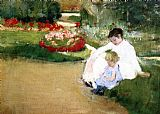 Mary Cassatt Wall Art - Woman And Child Seated In A Garden