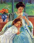 Mary Cassatt Wall Art - Young Mother Sewing 1902