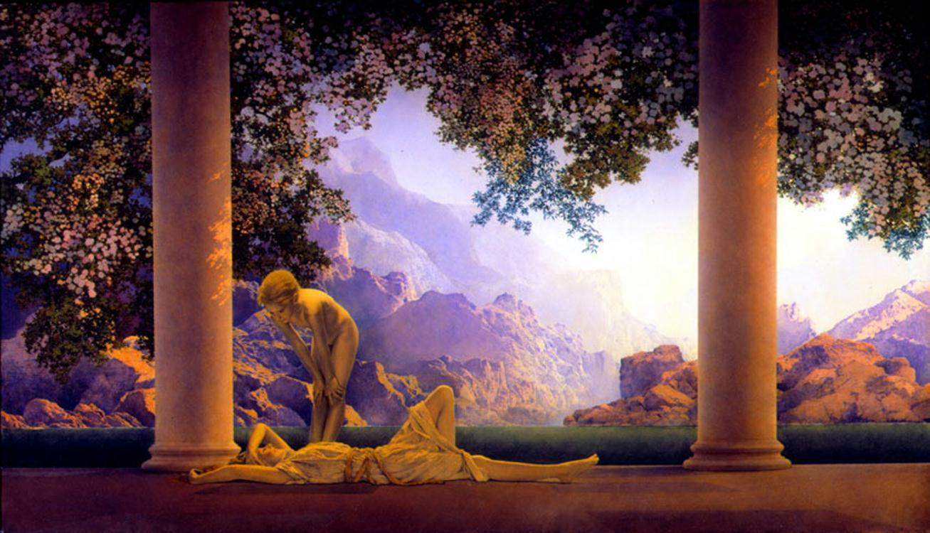 Maxfield parrish daybreak painting framed paintings for sale for Framed photos for sale