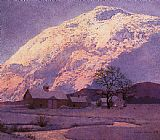 Famous Mountain Paintings - Mountain Farm at Winter