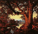 Autumn Canvas Paintings - Riverbank in Autumn